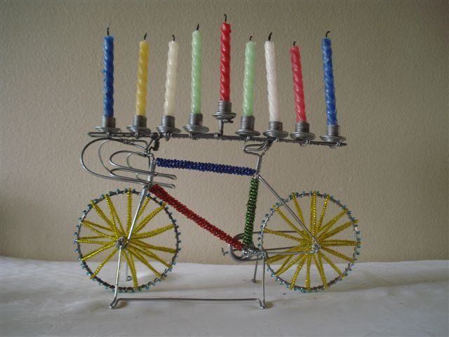 Wire and Bead Bicycle Menorah