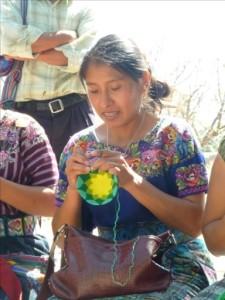 Mayan Artisan Crocheting a Kippah